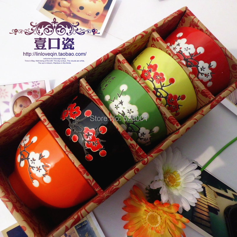 4.5 inch ceramic bowl rice soup colorful bowls dinnerware gift set+Free shippng - Ada zheng's Smile star Department store