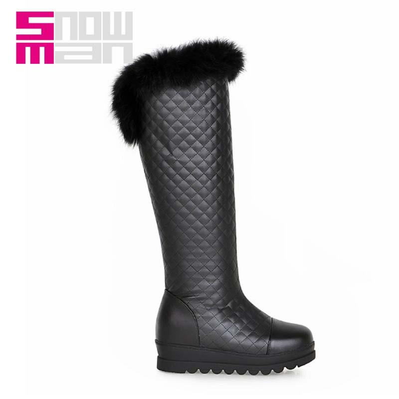 Women Boots Rabbit fur Grid Knee High Snow Boots Hidden Wedges Thick Sole Platform Snow Shoes Woman Warm Winter Boots Women's