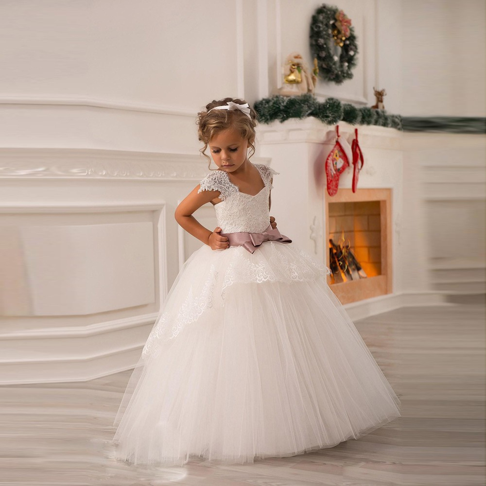 Flower girl dresses for weddings with ribbon ball gown for Dresses for girls wedding