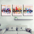 Unframed 3panel Handpainted Abstract City Landscape Palette Knife Oil Painting For Living Room Wall Art Unique