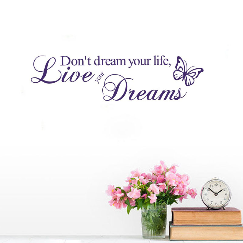Word Live Your Dream Butterflies Wall Stickers Home Decor Removable Vinyl Art Wall Decals Decoration(China (Mainland))