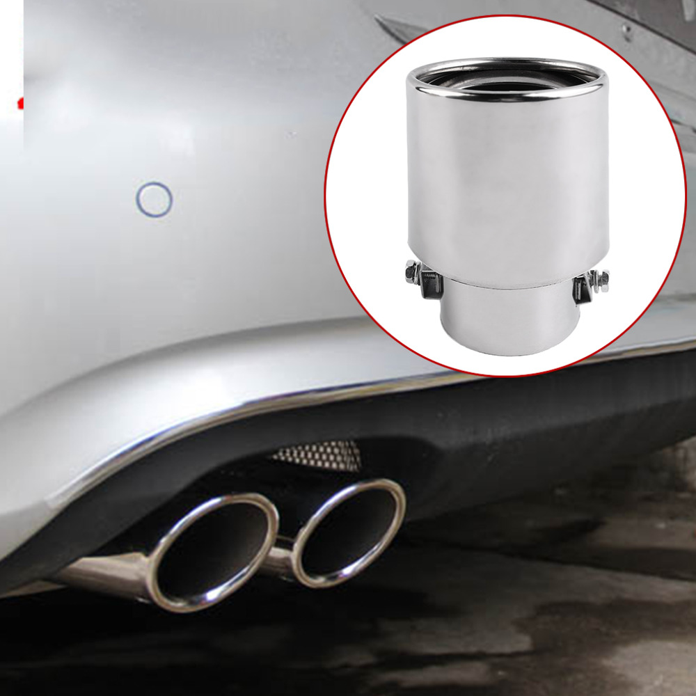 Universal Car Exhaust Muffler Tip Stainless Steel Pipe Chrome Trim Modified Car Tail Throat Liner Pipe Exhaust System New