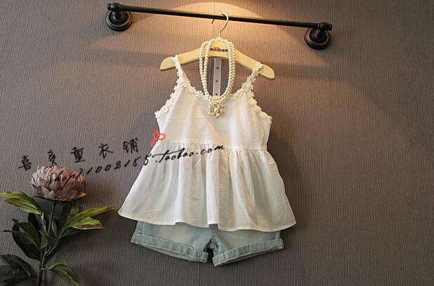 2015 summer new girls fresh embroidery waist shirt Dress Shirt(China (Mainland))