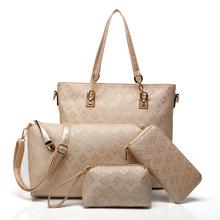Fashion PU Leather Lady Purses 2016 Famous Brand Tote Bags Luxury High Quality Designer Printing Handbag For Women 4 piece Set(China (Mainland))