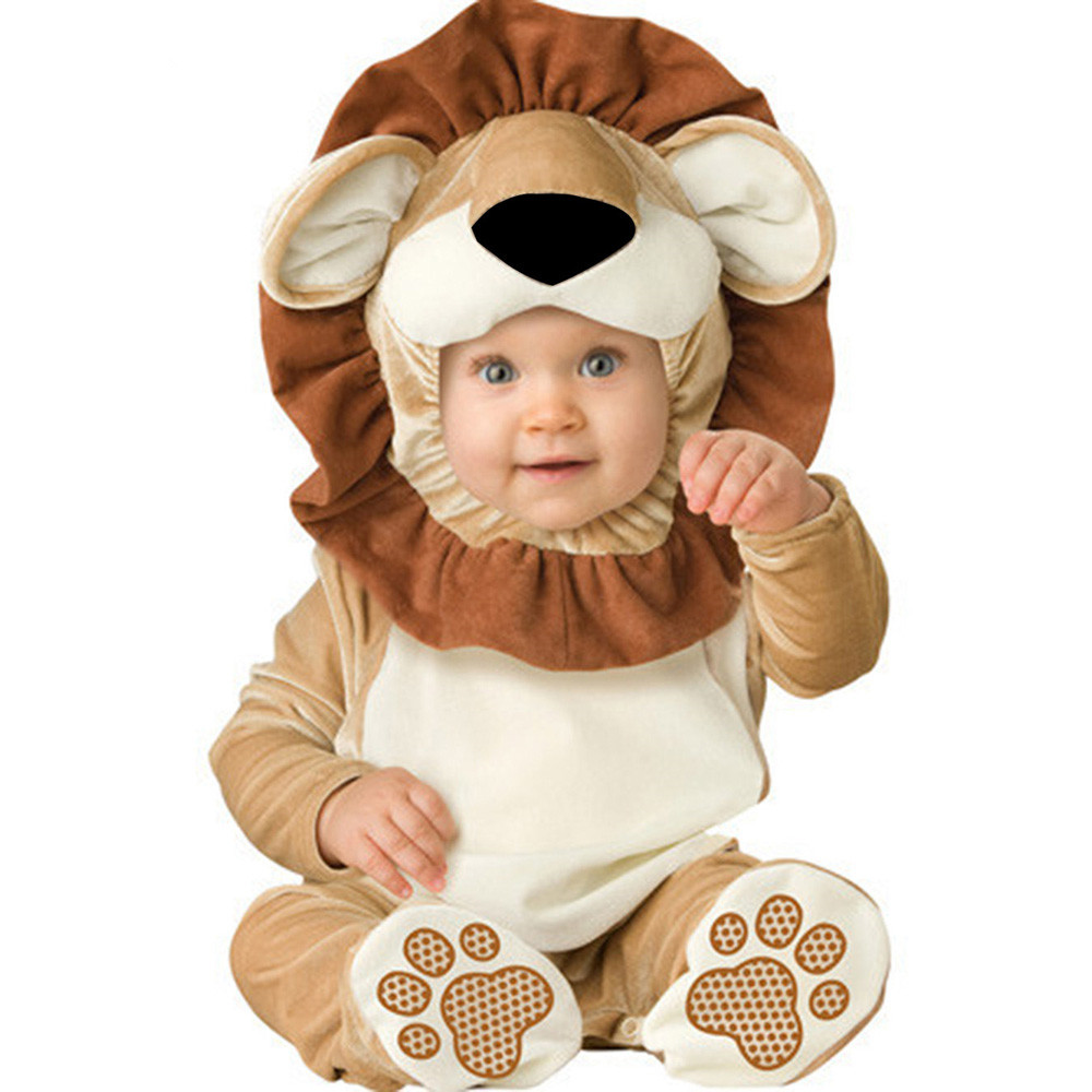 New born Baby Navidad halloween Lion Dinosaur costume baby animal romper toddler boys jumpsuits clothing set Girls Clothes