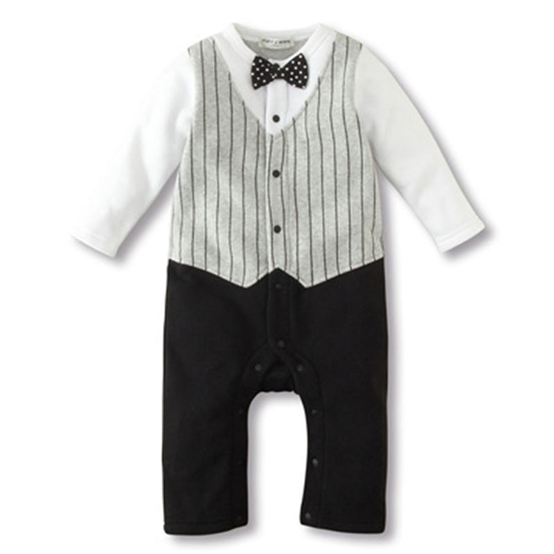 born Baby Rompers Clothing Baby Boys Clothes Tie Gentleman Bow Toddler 2 Pcs Set Jumpsuit
