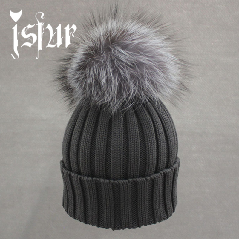 Brand New Warm Winter Collection 100% Merino Wool Gorros Beanie Detachable Genuine Silver Fox Fur Pom Poms Knitted Hats for Men(China (Mainland))