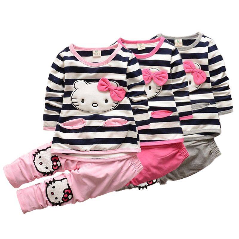 new t shirt straps Hello kitty set baby kids suits 2pcs fashion girls clothing sets minnie girls clothes Minnie tops suit retail(China (Mainland))