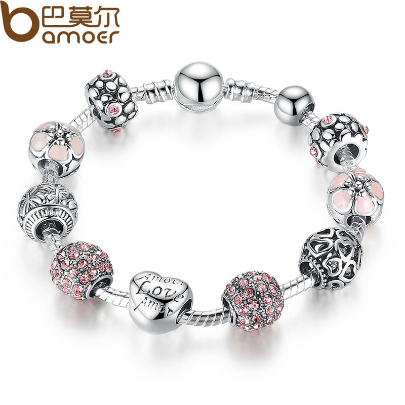 BAMOER Antique 925 Silver Charm Bangle & Bracelet with Love and Flower Crystal Ball for Women Wedding PA1455(China (Mainland))