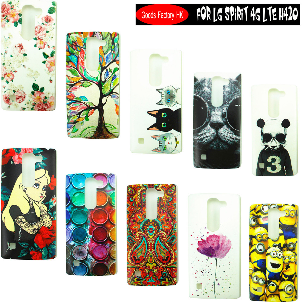 Top Selling Stock Cartoon Pattern Matte Hard Plastic Back Case for LG Spirit 4G LTE H420 H422 H440N Cell Phone cases Cover(China (Mainland))