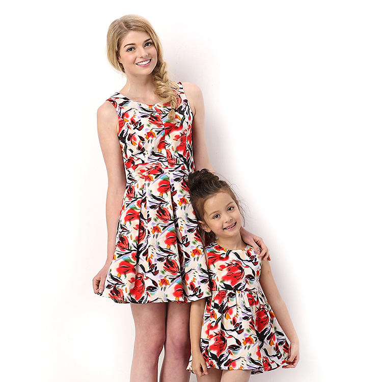 HIHEART 2015 Mother Daughter Dresses Clothes Big Flower ...