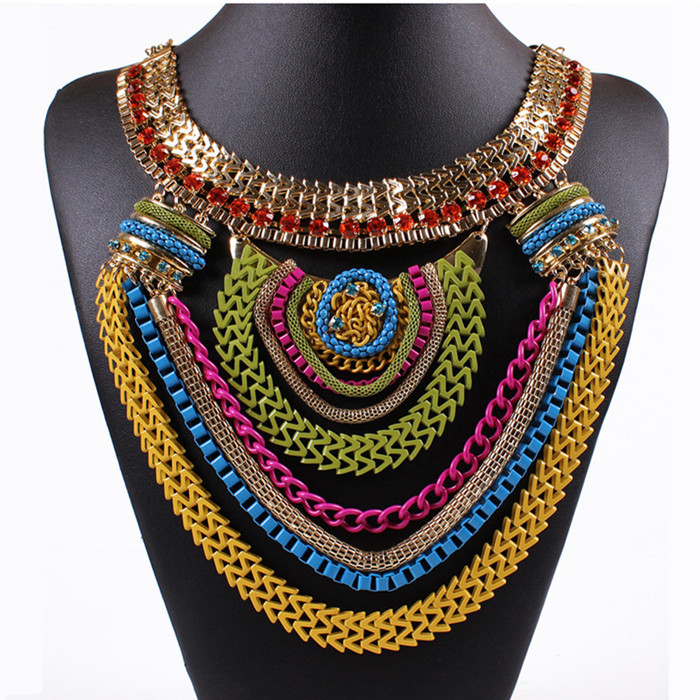Exaggerate Metal Necklace Vintage Big Pendant Chokers Necklaces Party Fine Jewelry Gold Clavicle Chain XL158(China (Mainland))