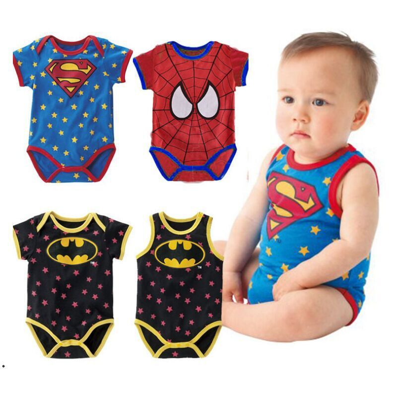newborn baby boy clothes 215 Summer new born baby clothing Cute cartoon spiderman Superman baby boy romper infant baby ropa bebe()