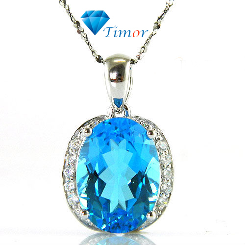 Hot Wholesale Fine Jewelry 5ct Big Genuine Stone Swiss Blue Topaz Necklaces Pendant 925 Silver Free Shipping