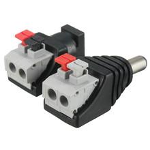 Mejor Precio Llevó Al Poder 5.5*2.1mm Macho Adaptador de Conector Hembra de CC Para Luces Led Conectado No Presionado tornillos DC12V