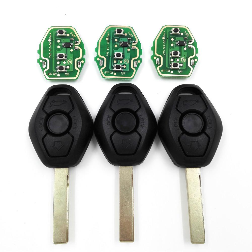 3pcs/lot 3 Button 433/315MHZ Remote Car Key Board For BMW X3 X5 E38 E39 E46 Track EWS System Without Key Shell(China (Mainland))