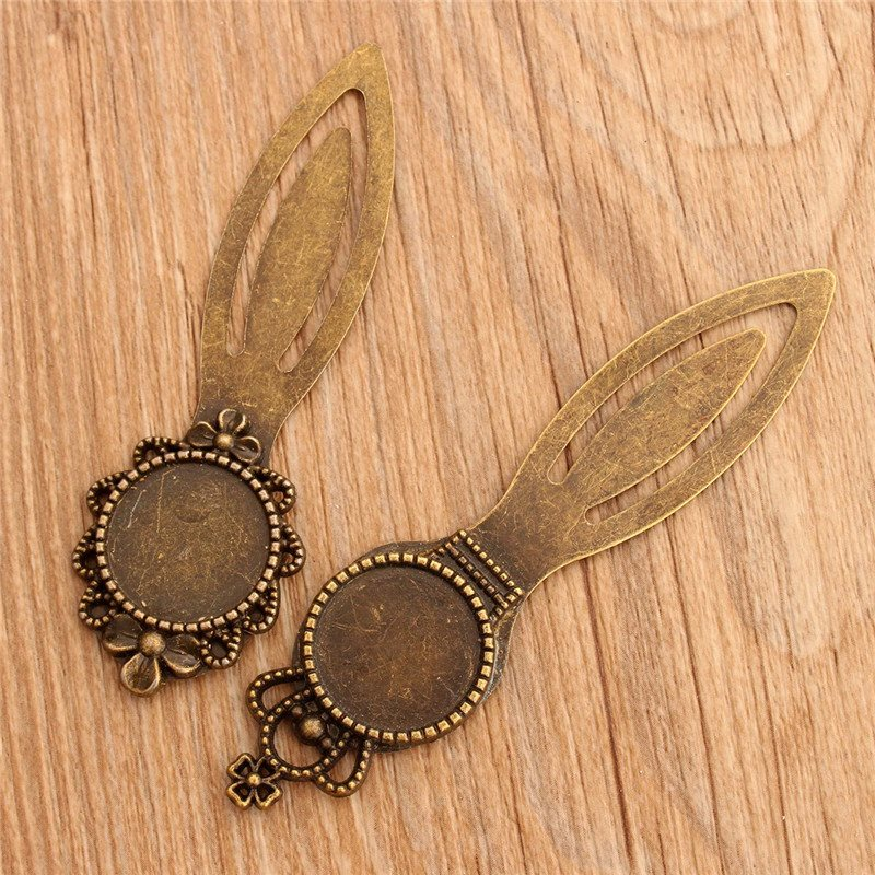 5pcs/lot Practical Exquisite Vintage Metal Bookmarks Round Antique Bronze Cabochon Setting DIY Accessories For Gift Collection(China (Mainland))