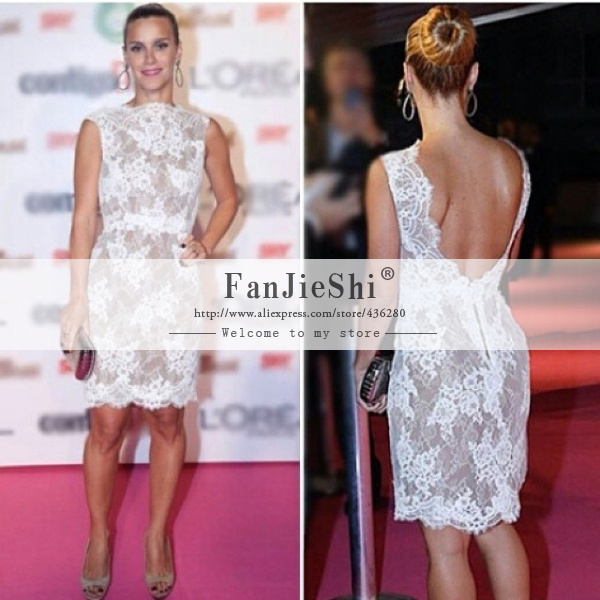 2015 New Style Party Gown Knee-Length Scoop Neckline Appliques Cap Sleeve Backless Straight Celebrity Dresses - Suzhou FanJieShi Wedding Dress Co., Ltd. store