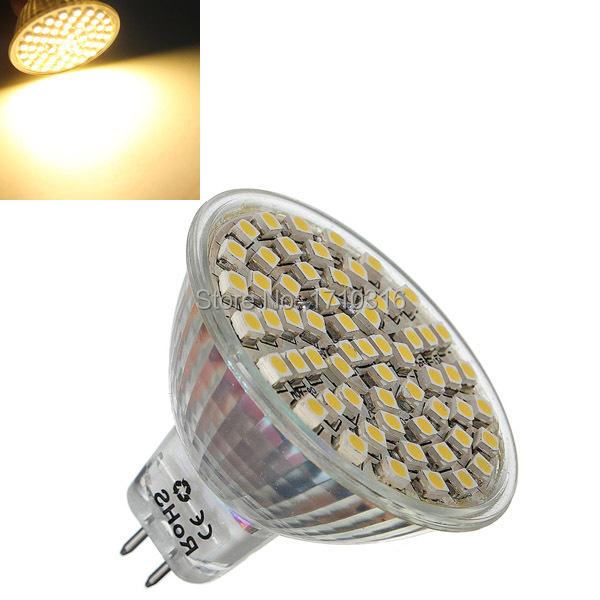 High Quality MR16 60 LED 3528 SMD White Warm White Energy Saving Spotlight Down Spot Lights Lamp Bulb DC12V(China (Mainland))