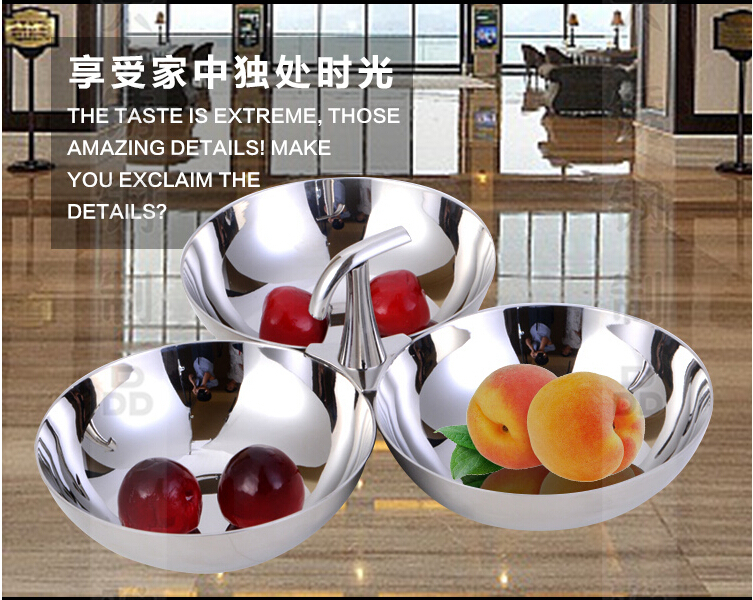High-end hotel tableware mirror surface fruit dish stainless steel snacks bowl 3in1 Europe style banquet dinnerware(China (Mainland))