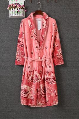 livraison gratuite rose fleur femmes peignoir automne hiver paississement molleton peignoir. Black Bedroom Furniture Sets. Home Design Ideas