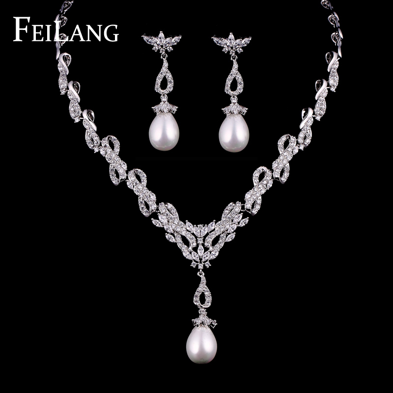 Buy feilang luxury white gold plated aaa for Diamond pearl jewelry sets