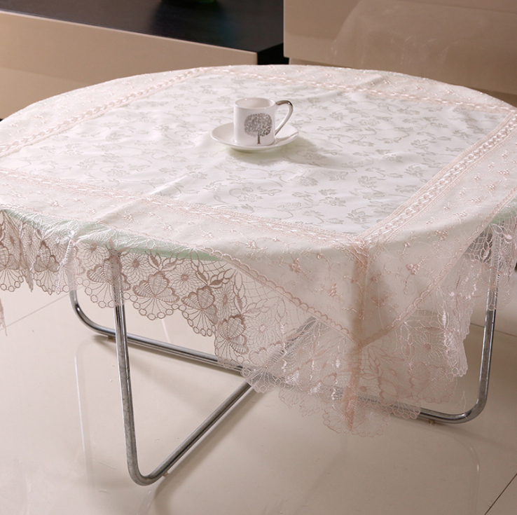 New Store Home Decoration Lace Table Cover for Dinning Table / Traditional Chinese Embroidery Satin Table Cloth for Round Tables(China (Mainland))