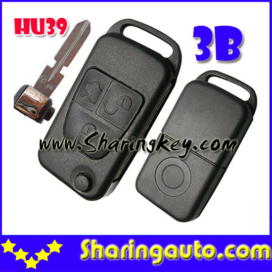 Free shipping 3 Button Flip Remote Key Case With HU39 Blade  for B-enz  5pcs/lot<br><br>Aliexpress