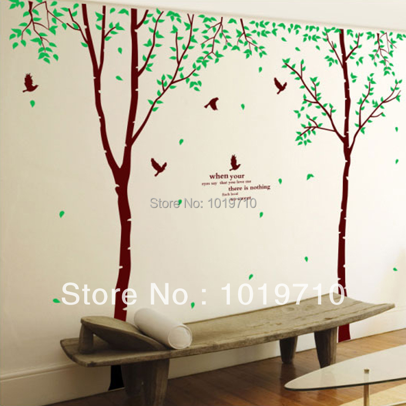 Large birch tree decoration creative living room furniture sofa TV room glass door wall stickers Specials(China (Mainland))