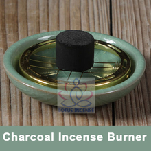 Small Decorated Charcoal Screen Ceramic Incense Burner 7cm Aromatherapy Plate for Burning frankincense Myrrh Free Shipping(China (Mainland))