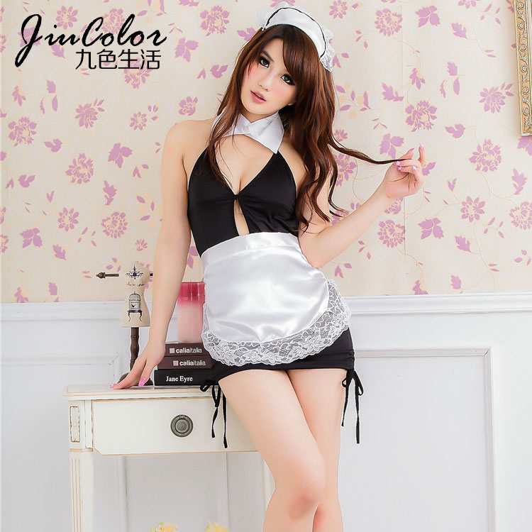 Sexy maid costume stripper wear adult costume erotic straps baby valentine outfit black mixed white color Eros-sexy-320(China (Mainland))