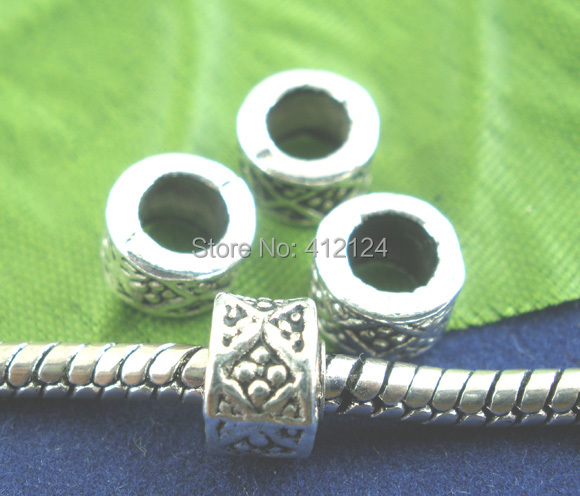 1500 Wholesale European Beads Spacers DIY Silver Tone Fit Charm Bracelet Necklace Serpent Chain Jewelry Component 8x5mm<br><br>Aliexpress