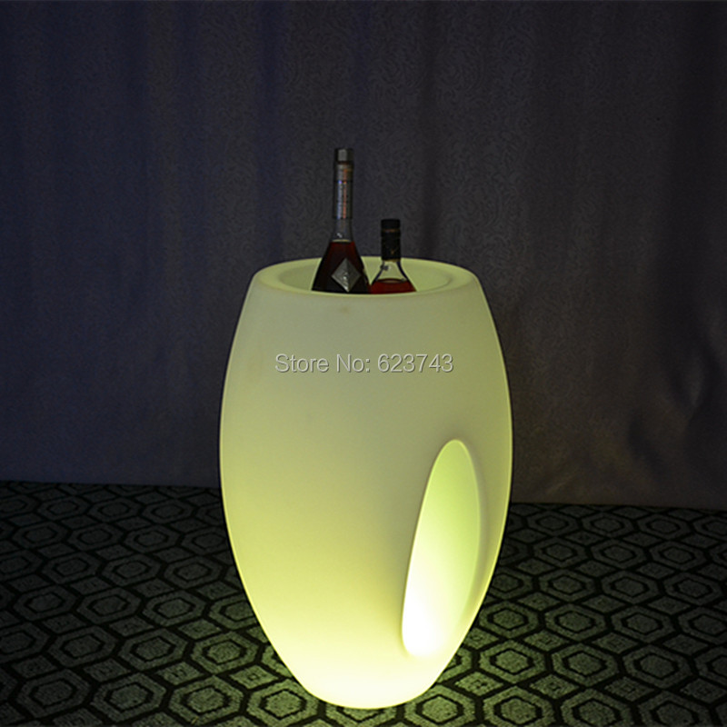 2 pieces/lot Remote control Colorful big LED illuminated ice bucket/led Luminous flower pot of indoor illuminated furniture(China (Mainland))