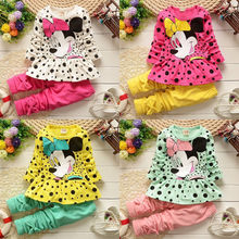 2015 Baby Kids Girls Clothing set Minnie Dot Long Sleeve Tops Pants 2pcs Outfits 2~6Y baby Winter Cloth