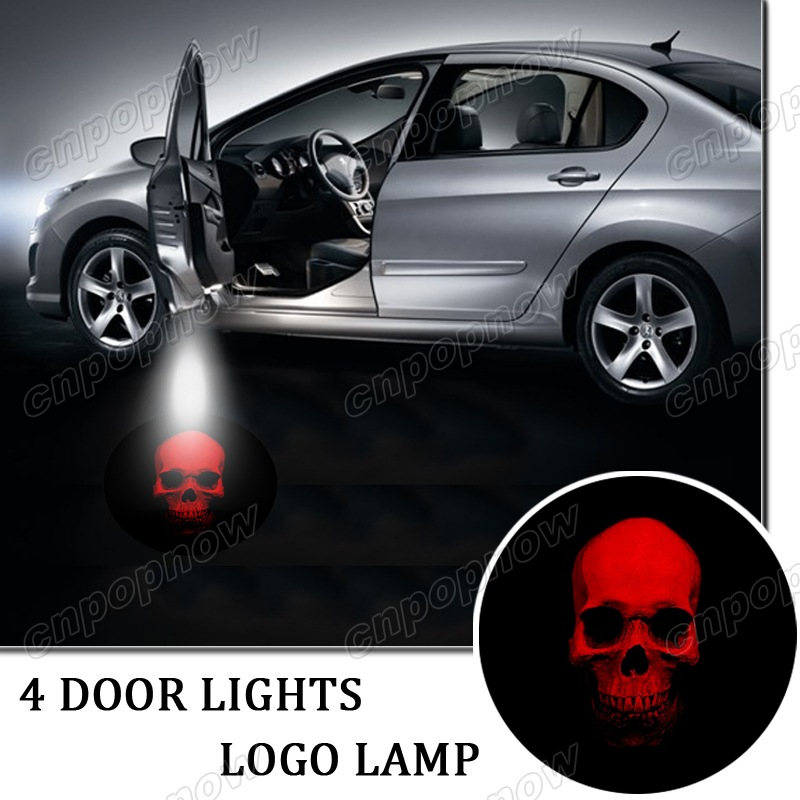 4pcs LED Car open door welcome light courtesy laser projector Logo Ghost Shadow Lamp Symbol Badge Emblem For Red Skull #6107*4(China (Mainland))