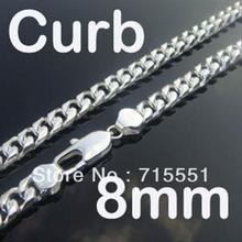 CN38  2012 New Style Free shipping Men's Jewelry Christmas Gifts /  High Quality / 8MM 925  Silver Curb Chain Necklace(China (Mainland))