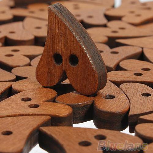 100 PCS Brown Wood Wooden Heart Shape Button Craft Scrapbooking 20mm 02UL 3T1T(China (Mainland))