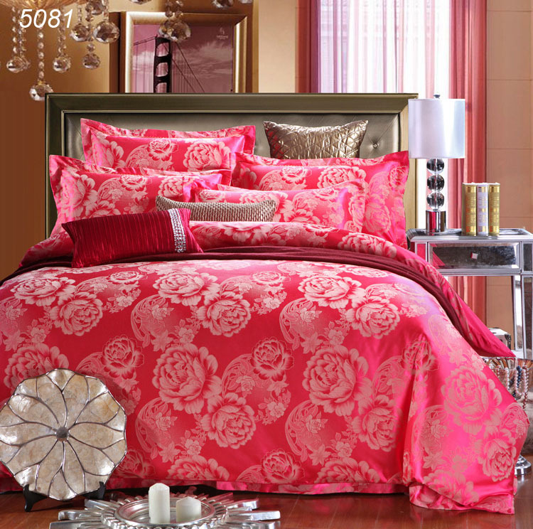 4pcs bedding sets cotton AB side bed set tribute silk bed linens red tencel silk king size bed set queen linens hot 5081(China (Mainland))