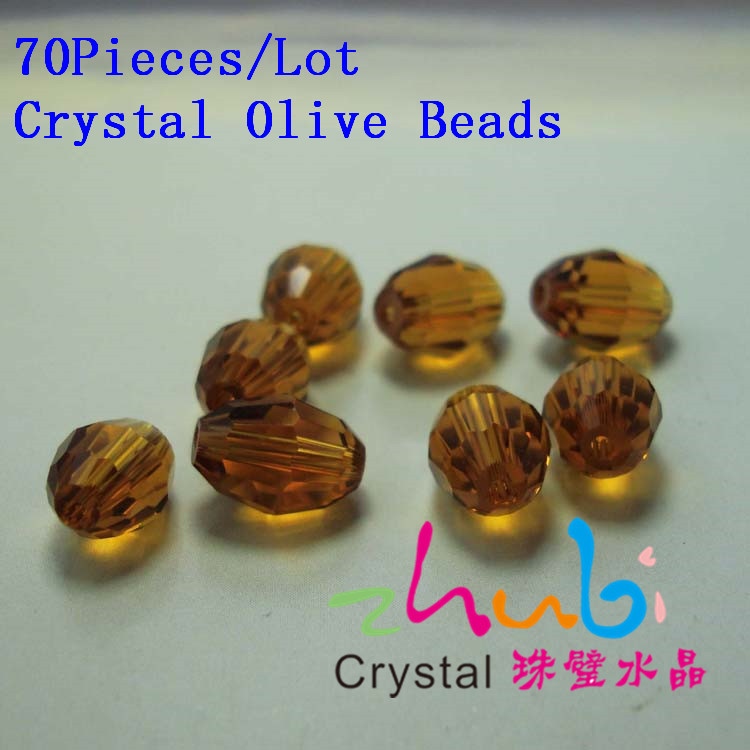 (70Pieces/Lot) Bead Treasures Glass Beads,China Glass Beads,Olive Shaped Crystal Glass China Bead(China (Mainland))