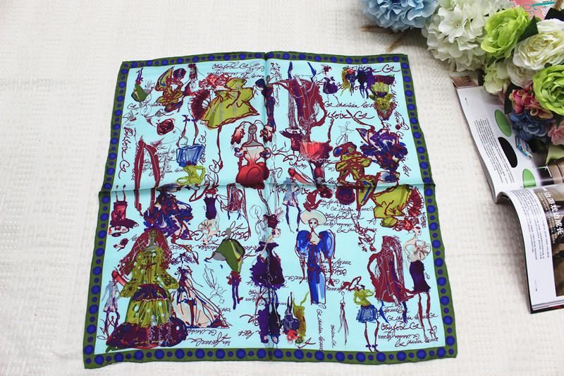 100% silk scarf, women Square scarf,Material:twill silk, size:50x50,Thickness 12mm Azure Fashion dress(China (Mainland))
