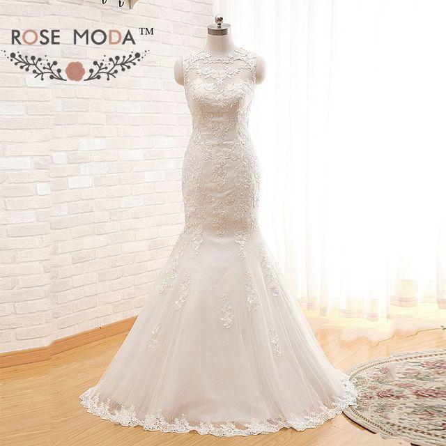 Иллюзия о шеи кружева русалка свадебное платье видеть сквозь кружево назад свадебные ...
