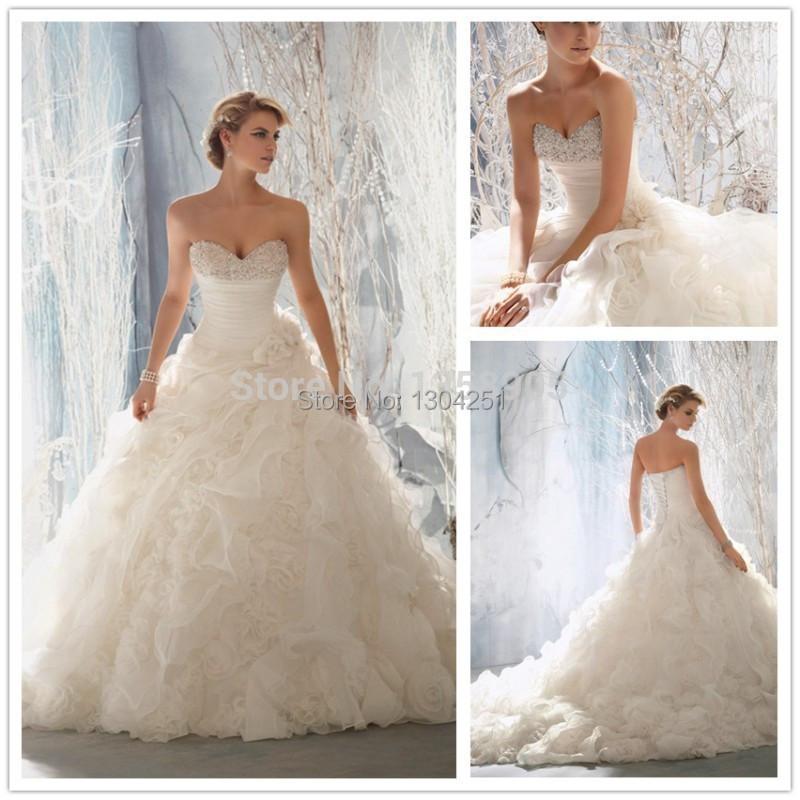 Elegant Handmade Flower Organza Ruffle Wedding Dresses 2015 New Fashion Backless Organza Women