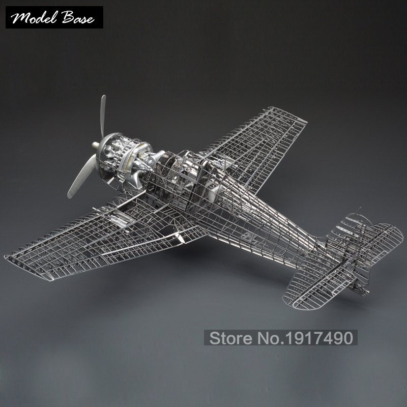 Cubic Fun 3d Puzzle DIY Jigsaw Silver Kids Toys Hellcat Fighter Skeleton F6F-5 1/48 Brain Teaser Metal Model Iq Educational(China (Mainland))
