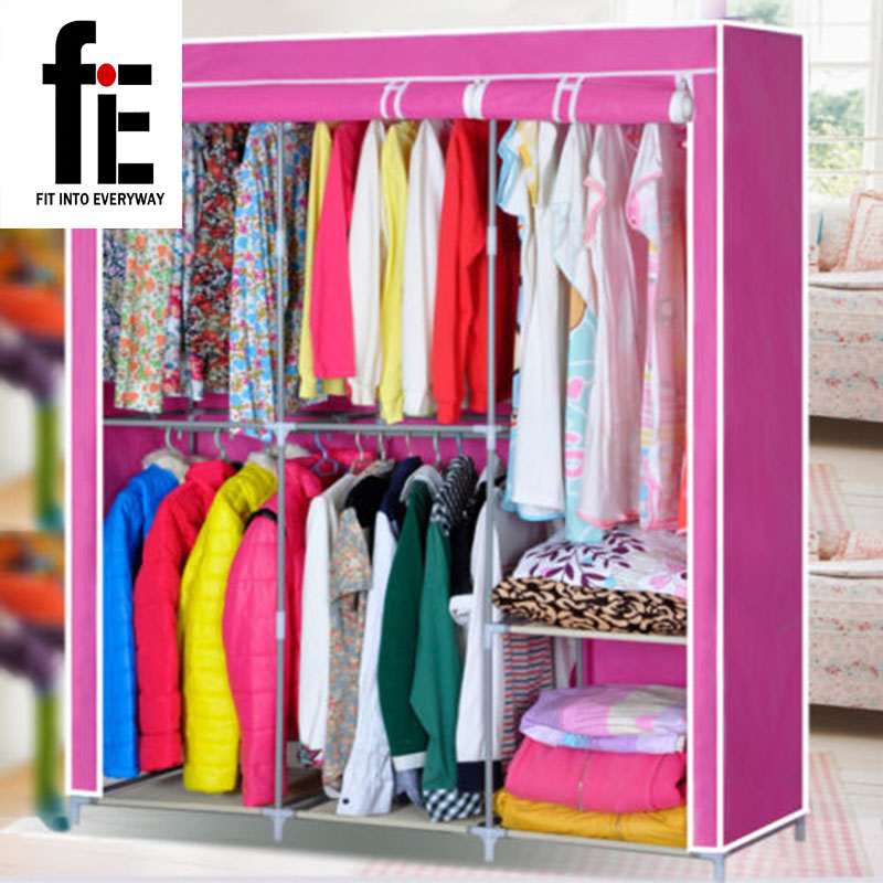 Wardrobe Closet Large And Medium-sized, Wardrobe Cabinets Simple Folding Reinforcement Receive Stowed Clothes Store Content Ark(China (Mainland))