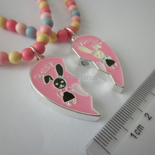 3 sets /lot  fashion jewelry best friends letter heart pendant of  two halves rabbit necklace for kids without lobster(China (Mainland))