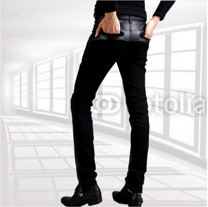 Мужчины кожа брюки мотоцикл с молния свободного покроя брюки узкие брюки