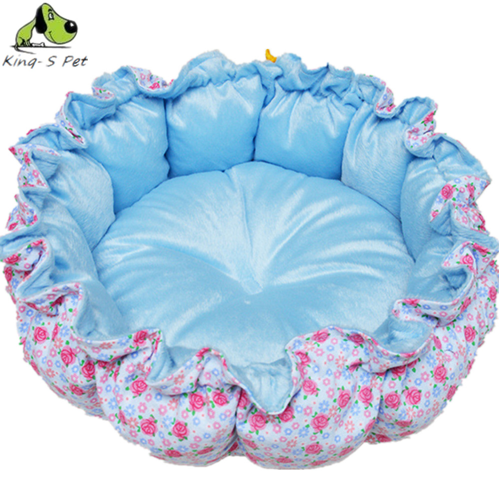 Fashion Pet Dog Boom Double Color Printing Blue Floral Pumpkin Pattern Pet Cat Bed Size S L Nest Hot Sales Free Shipping(China (Mainland))