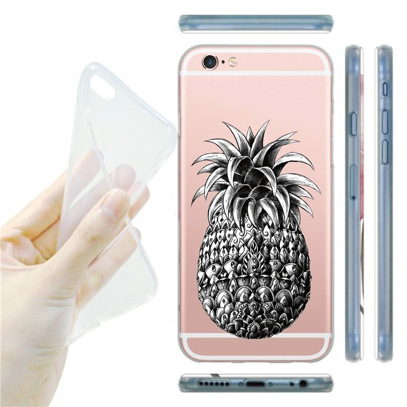 Pineapple Tattoos Pattern Glossy TPU Soft Silicon Cell Phone Case For iphone 5 5s 6 6S Plus For Samsung Galaxy S5 S6 S7 Edge J5(China (Mainland))
