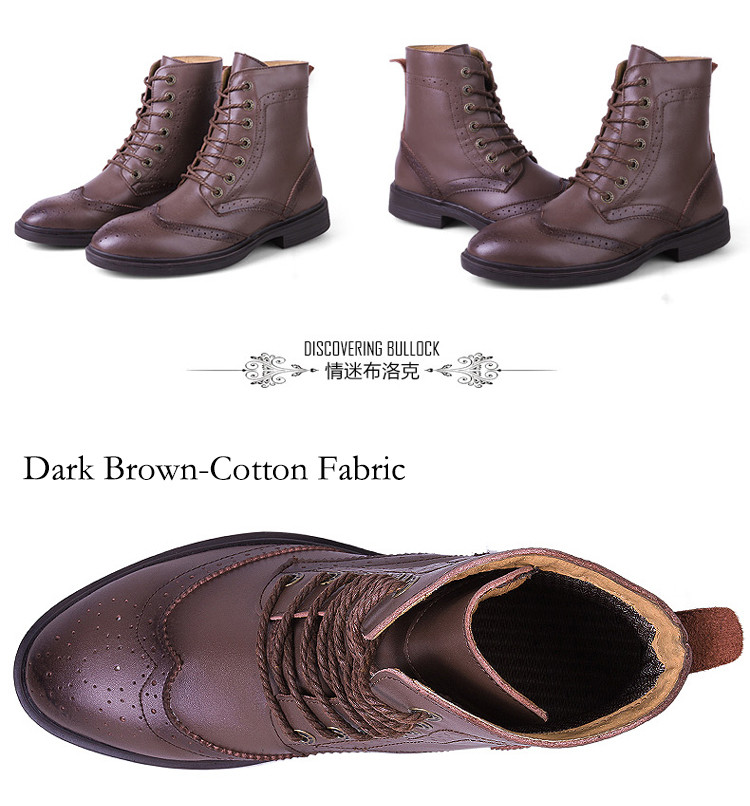 Winter British Men Martin Boots Fashion Keep Warm Carving Flower Bullock Boots Genuine Leather Boots Plus Size