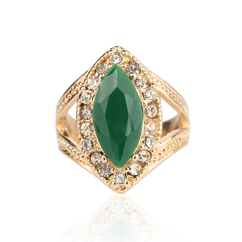 Green Ring Gold Plated 2016 Fashion Turkey Jewelry For Women White Crystal Green Horse Eye Resin Beautiful Outfit Accessories(China (Mainland))